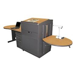 Teacher's Desk w/ Media Center & Lectern - Steel Doors - Oak laminate