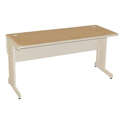 "Pronto Computer Table w/ Lockable Raceway (30"" W x 72"" L x 29"" H) - Oak Desktop w/ Putty Frame"