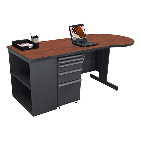 Conference Style Teacher Desk w/ Pedestal & Bookcase - Collectors Cherry top w/ dark neutral finish