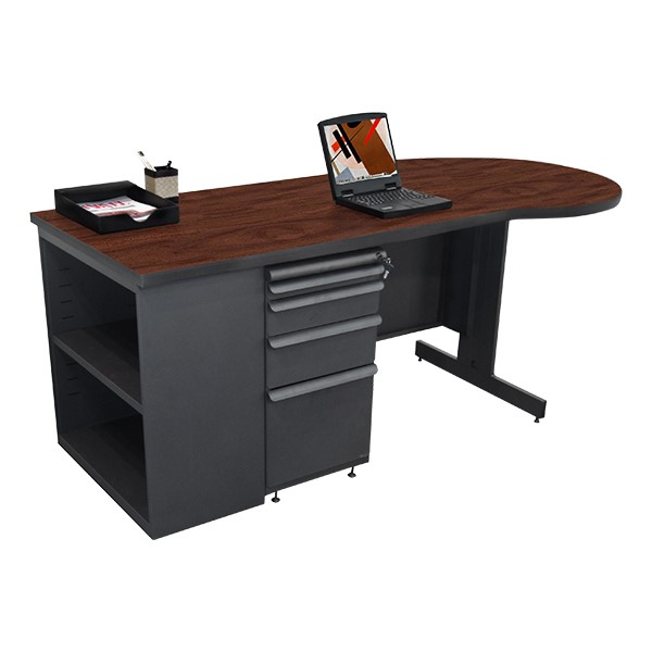 Conference Style Teacher Desk w/ Pedestal & Bookcase - Figured mahogany top w/ dark neutral finish