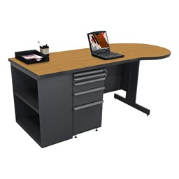 Conference Style Teacher Desk w/ Pedestal & Bookcase - Solar oak top w/ dark neutral finish