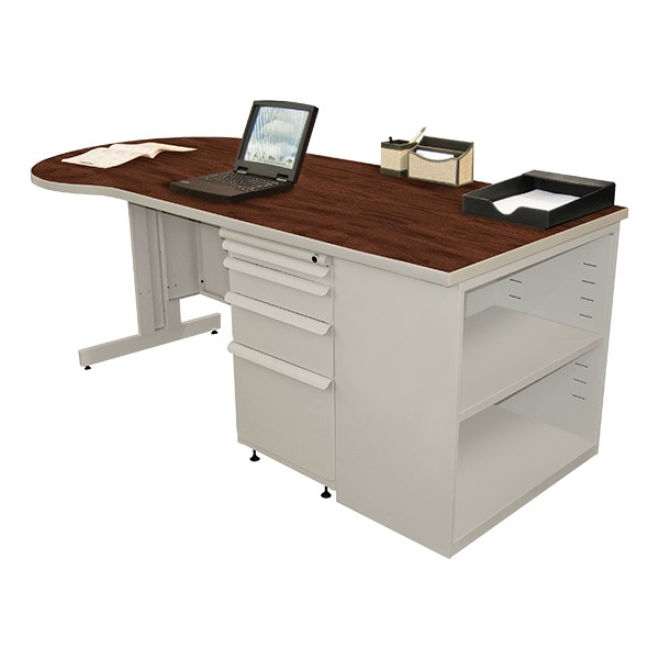 Conference Style Teacher Desk w/ Pedestal & Bookcase - Mahogany top w/ featherstone finish