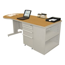 Conference Style Teacher Desk w/ Pedestal & Bookcase - Solar oak top w/ featherstone finish