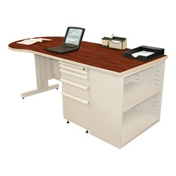Conference Style Teacher Desk w/ Pedestal & Bookcase - Collectors cherry top w/ putty finish