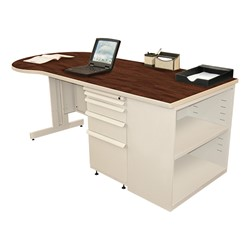 Conference Style Teacher Desk w/ Pedestal & Bookcase - Figured mahogany top w/ putty finish