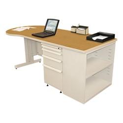 Conference Style Teacher Desk w/ Pedestal & Bookcase - Solar oak top w/ putty finish