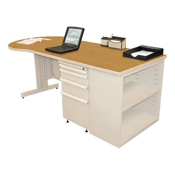 Conference Style Teacher Desk w/ Pedestal & Bookcase - Solar oak top w/ putty finish