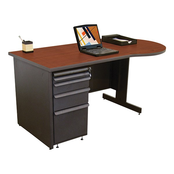 Conference Style Teacher Desk w/ Pedestal - Collectors cherry top w/ dark neutral finish