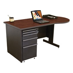 Conference Style Teacher Desk w/ Pedestal - Figured mahogany top w/ dark neutral finish