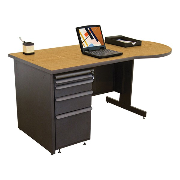Conference Style Teacher Desk w/ Pedestal - Solar oak top w/ dark neutral finish