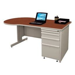 Conference Style Teacher Desk w/ Pedestal - Collectors cherry top w/ featherstone finish