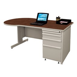 Conference Style Teacher Desk w/ Pedestal - Figured mahogany top w/ featherstone finish