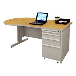 Conference Style Teacher Desk w/ Pedestal - Solar oak w/ featherstone finish