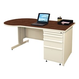 Conference Style Teacher Desk w/ Pedestal - Figured mahogany top w/ putty finish