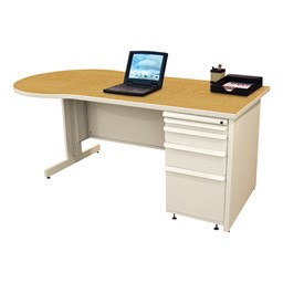 Conference Style Teacher Desk w/ Pedestal - Solar oak top w/ putty finish