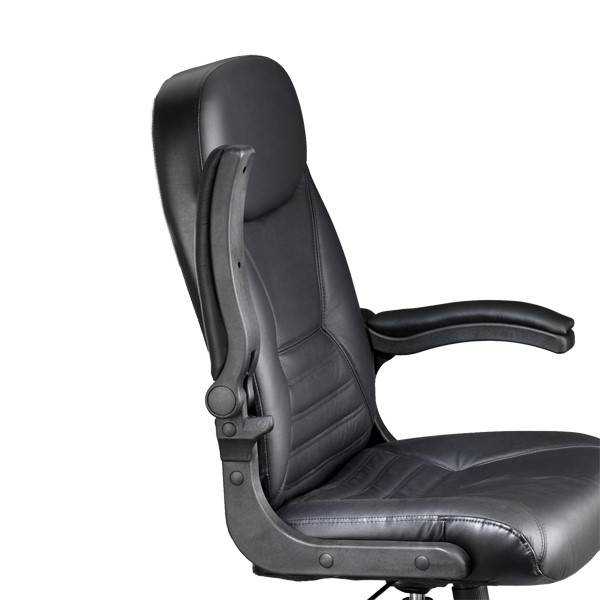 Comfort Series Big & Tall Pivot Arm Chair - Leather Upholstery - Shown w/ arm flipped up