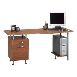 Espresso Series Computer Desk w/ Pedestal – Shown in medium cherry