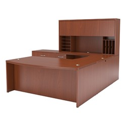 Aberdeen Series Bow Front U-Shaped Desk w/ Hutch & Lateral File - Cherry