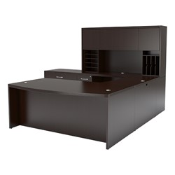 Aberdeen Series Bow Front U-Shaped Desk w/ Hutch & Lateral File - Mocha