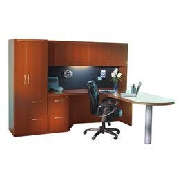 Aberdeen Series L-Shaped Peninsula Desk w/ Hutch & Personal Storage Tower - Cherry