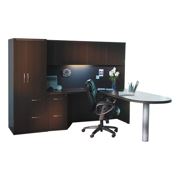 Aberdeen Series L-Shaped Peninsula Desk w/ Hutch & Personal Storage Tower - Mocha