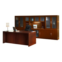 Aberdeen Series Conference Desk W Complete Wall Storage System Cherry