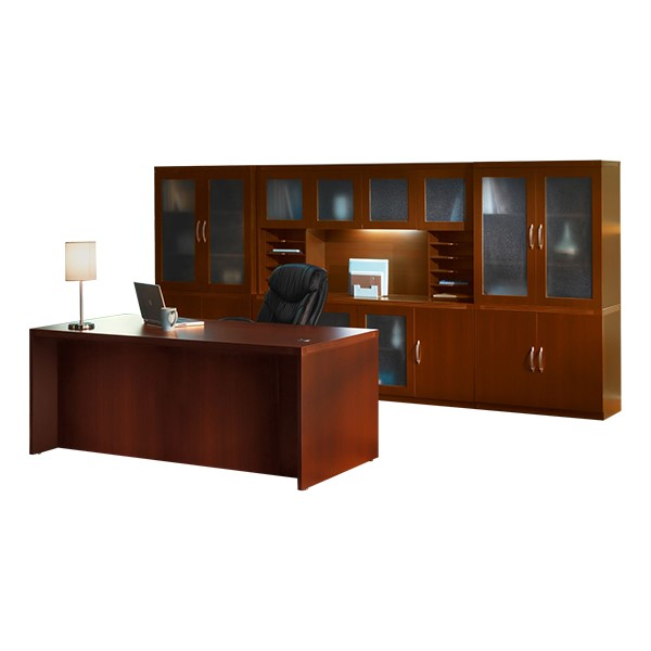 Aberdeen Series Conference Desk w/Complete Wall Storage System - Cherry