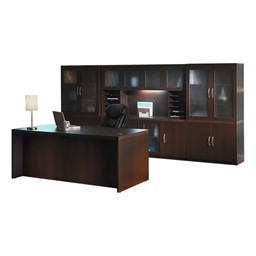 Aberdeen Series Conference Desk w/Complete Wall Storage System - Mocha