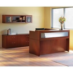 Aberdeen Series L-Shaped Reception Desk w/ Credenza & Wall Hutch - Cherry