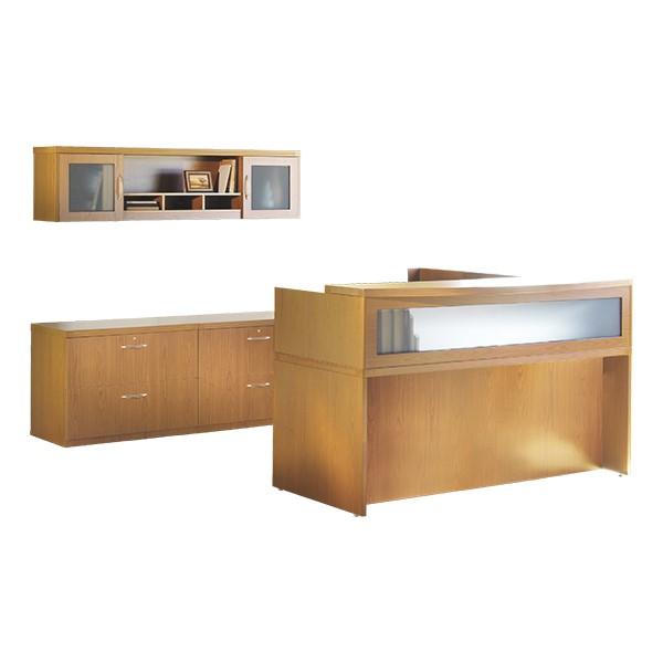 Aberdeen Series L-Shaped Reception Desk w/ Credenza & Wall Hutch - Maple