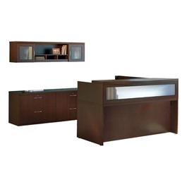 Aberdeen Series L-Shaped Reception Desk w/ Credenza & Wall Hutch - Mocha