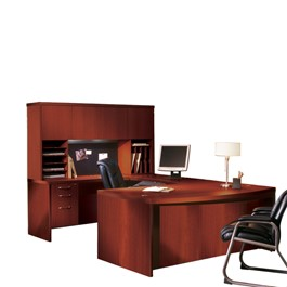 Aberdeen Series Bow Front U-Shaped Desk & Hutch w/ Wood Doors - Cherry