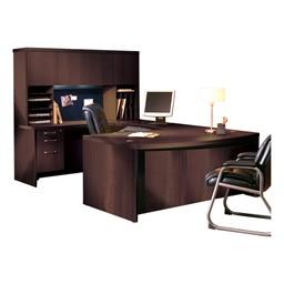 Aberdeen Series Bow Front U-Shaped Desk & Hutch w/ Wood Doors - Mocha