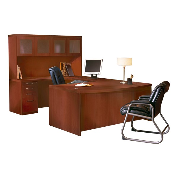 Aberdeen Series Bow Front U-Shaped Desk & Hutch w/ Glass Doors - Cherry
