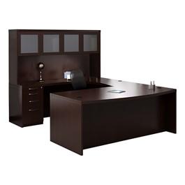 Aberdeen Series Bow Front U-Shaped Desk & Hutch w/ Glass Doors - Mocha