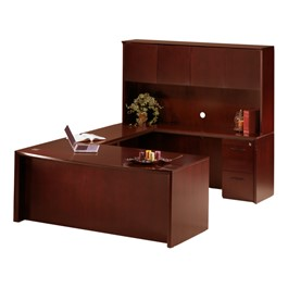 Corsica Series U-Shaped Bow Front Desk and Hutch w/ Wood Doors