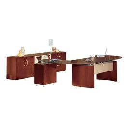 Napoli Series L-Shaped Desk w/ Low Wall Cabinet – Right Return