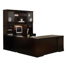 Sorrento Series U-Shaped Straight-Front Desk w/ Hutch - Espresso