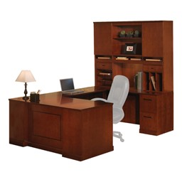 Sorrento Series U-Shaped Straight-Front Desk w/ Hutch - Right Return – One 2-Drawer & One 3-Drawer Pedestal Shown