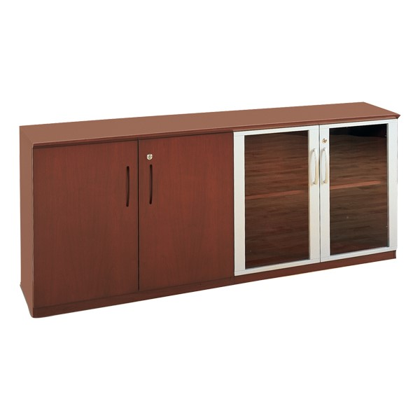Corsica Series Low Wall Cabinet w/ Doors – Wood & Glass, Sierra Cherry