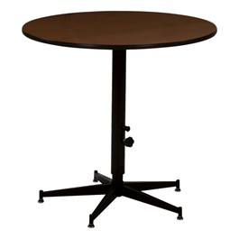 Adjustable-Height Round Banquet Table w/ Stained Plywood Top