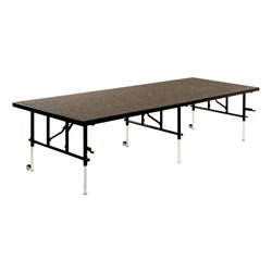 TransFold Adjustable Platform Rectangle Portable Stage & Seated Riser Section w/ Carpet Deck