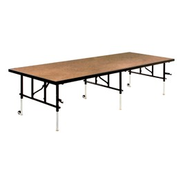 TransFold Adjustable Platform Rectangle Portable Stage & Seated Riser Section w/ Hardboard Deck