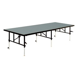 TransFold Adjustable Platform Rectangle Portable Stage & Seated Riser Section w/ Polypropylene Deck
