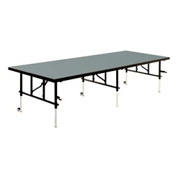 TransFold Adjustable Platform Rectangle Portable Stage & Seated Riser Section w/ Polypropylene Deck
