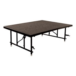 TransFold Adjustable Platform Square Portable Stage & Seated Riser Section - Carpet Deck