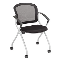 Nesting Chair w/ Black Mesh Seat & Back, Silver Frame
