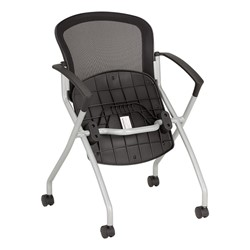 Nesting Chair w/ Black Mesh Seat & Back, Silver Frame - Folded