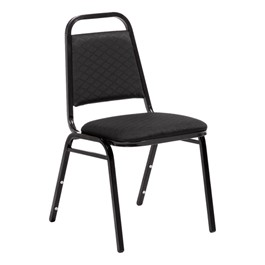 "150 Series Stack Chair w/ 1 1/2"" Thick Seat - Black fabric w/ black frame"