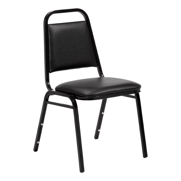 "150 Series Stack Chair w/ 1 1/2"" Thick Seat - Black vinyl w/ black frame"